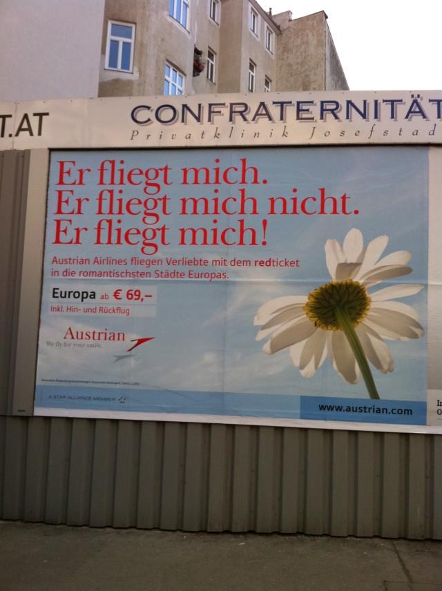 """AUA Plakat """"Er fliegt mich"""""""
