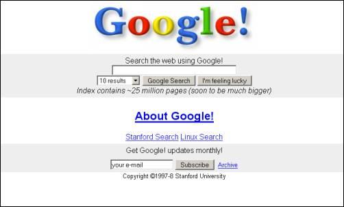 Google im Jahr 1997