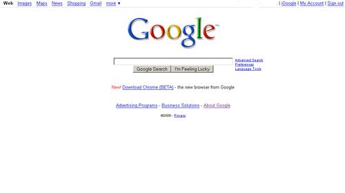 Google Optionen oben