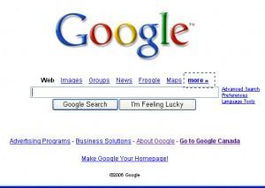 Google mit Optionen beim Suchfeld
